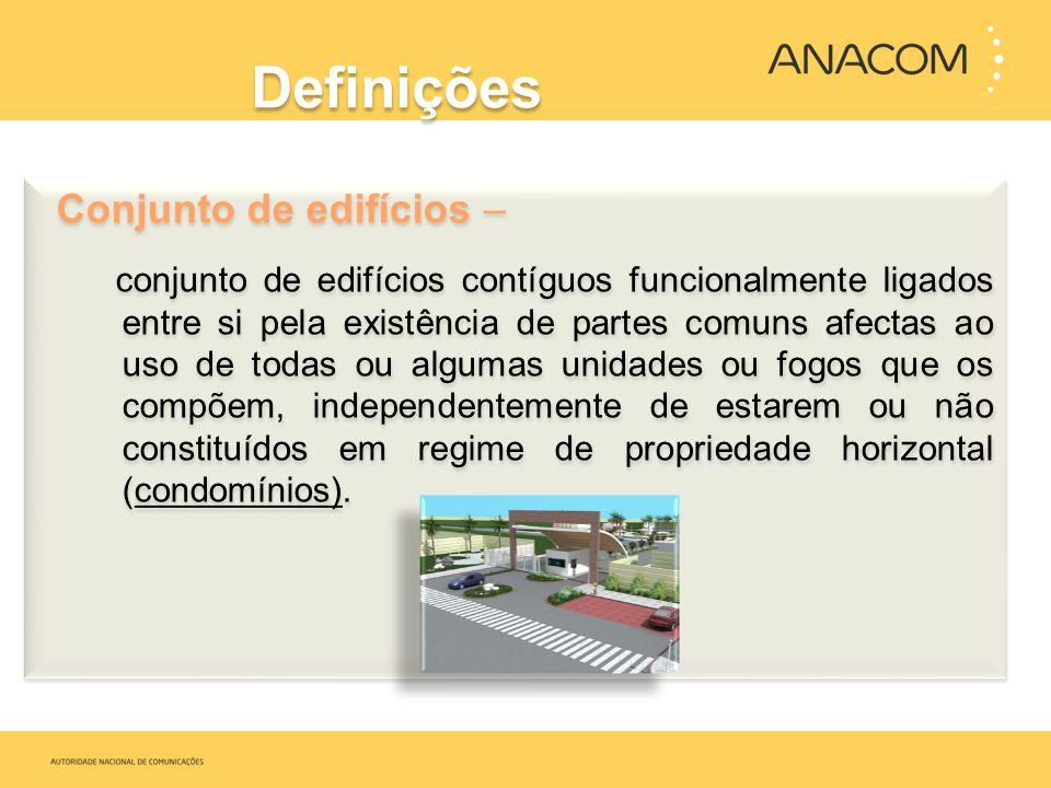 Definições Conjunto de edifícios – conjunto de edifícios contíguos funcionalmente ligados entre si pela existência de partes comuns afectas ao uso de
