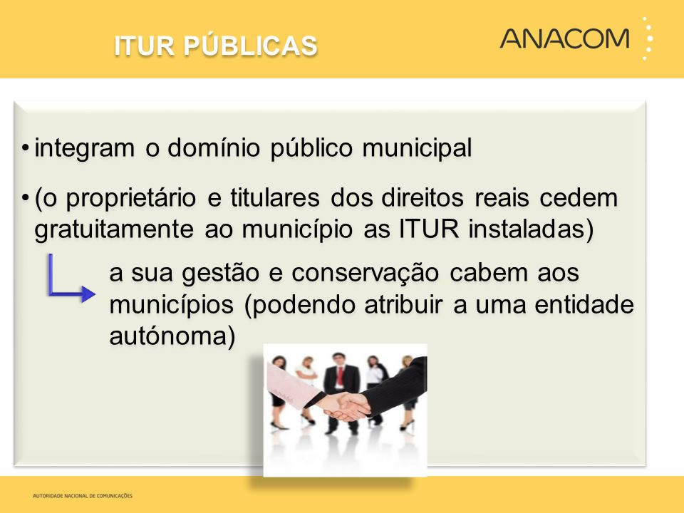 integram o domínio público municipal (o proprietário e titulares dos direitos reais cedem gratuitamente ao município as ITUR instaladas) a sua gestão