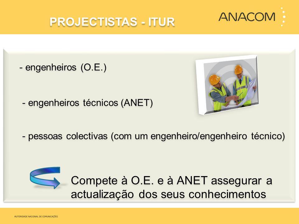 - engenheiros (O.E.) - engenheiros técnicos (ANET) - pessoas colectivas (com um engenheiro/engenheiro técnico) Compete à O.E. e à ANET assegurar a act
