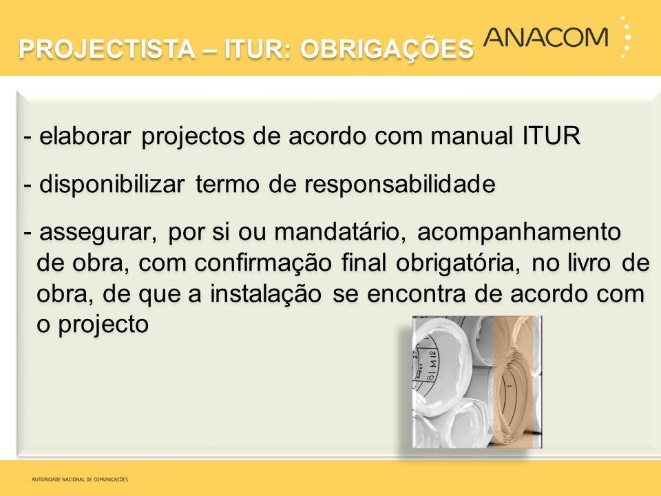 - elaborar projectos de acordo com manual ITUR - disponibilizar termo de responsabilidade - assegurar, por si ou mandatário, acompanhamento de obra, c