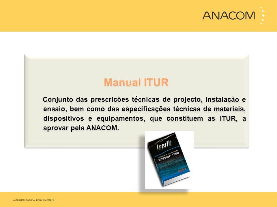 Manual ITUR Conjunto das prescrições técnicas de projecto, instalação e ensaio, bem como das especificações técnicas de materiais, dispositivos e equi