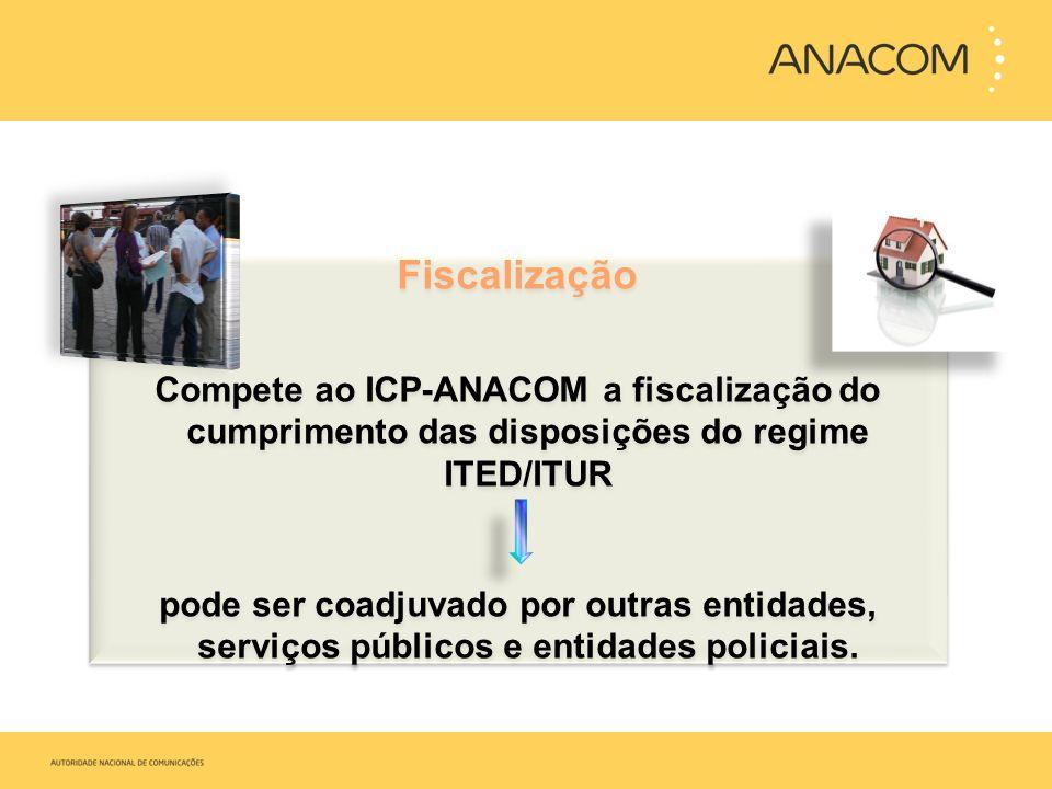 Fiscalização Compete ao ICP-ANACOM a fiscalização do cumprimento das disposições do regime ITED/ITUR pode ser coadjuvado por outras entidades, serviço