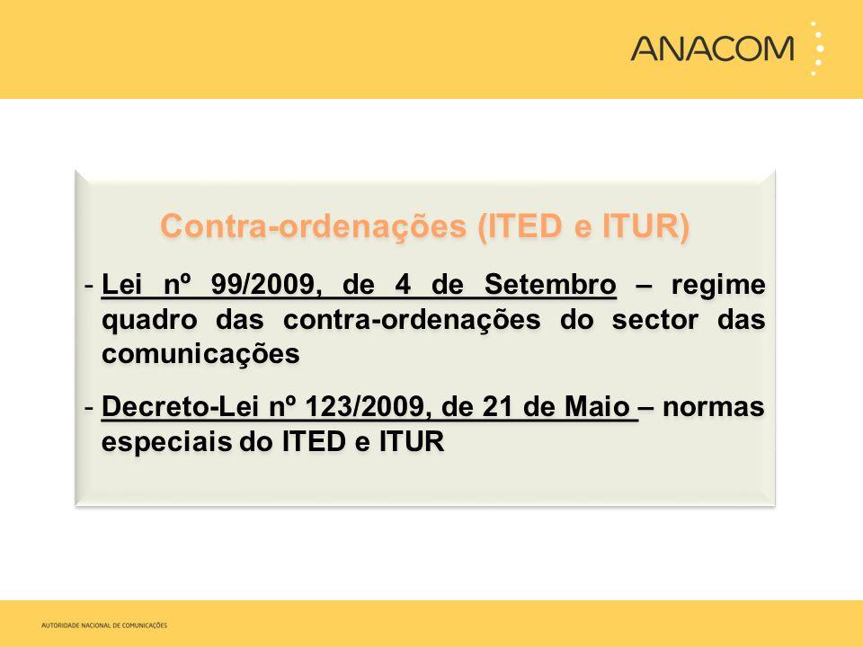 Contra-ordenações (ITED e ITUR) -Lei nº 99/2009, de 4 de Setembro – regime quadro das contra-ordenações do sector das comunicações -Decreto-Lei nº 123