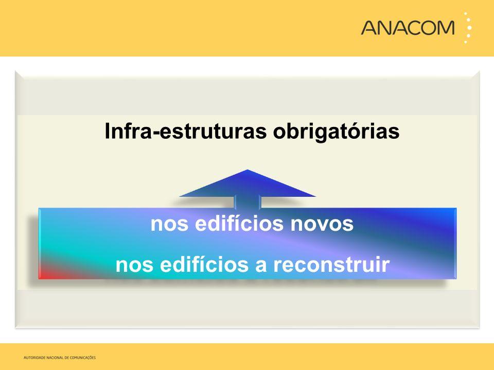 Infra-estruturas obrigatórias nos edifícios novos nos edifícios a reconstruir nos edifícios novos nos edifícios a reconstruir