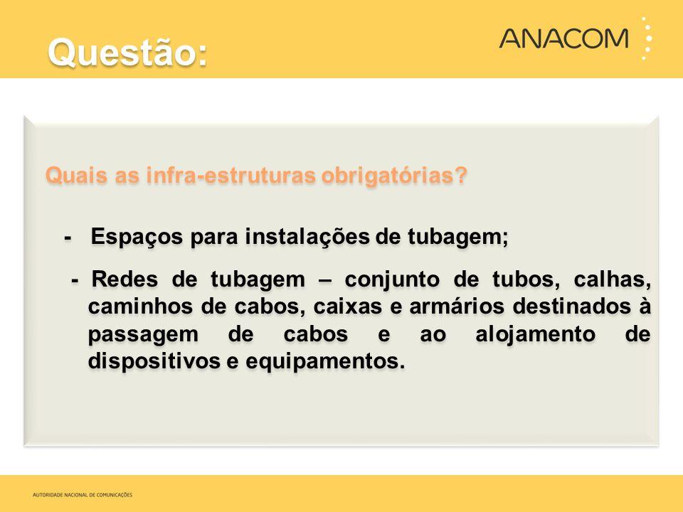 Questão: Quais as infra-estruturas obrigatórias? - Espaços para instalações de tubagem; - Redes de tubagem – conjunto de tubos, calhas, caminhos de ca
