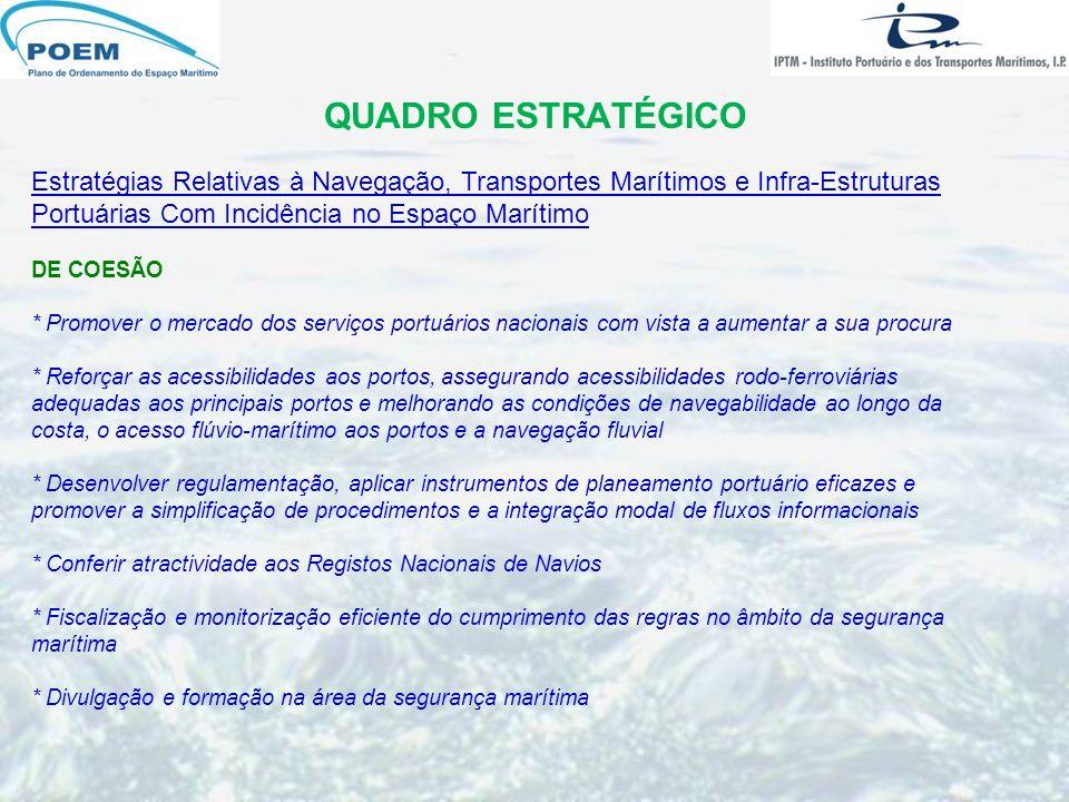 QUADRO ESTRATÉGICO Estratégias Relativas à Navegação, Transportes Marítimos e Infra-Estruturas Portuárias Com Incidência no Espaço Marítimo DE COESÃO
