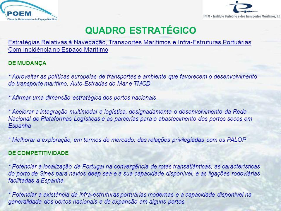 QUADRO ESTRATÉGICO Estratégias Relativas à Navegação, Transportes Marítimos e Infra-Estruturas Portuárias Com Incidência no Espaço Marítimo DE MUDANÇA