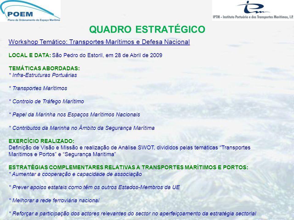 QUADRO ESTRATÉGICO Workshop Temático: Transportes Marítimos e Defesa Nacional LOCAL E DATA: São Pedro do Estoril, em 28 de Abril de 2009 TEMÁTICAS ABO