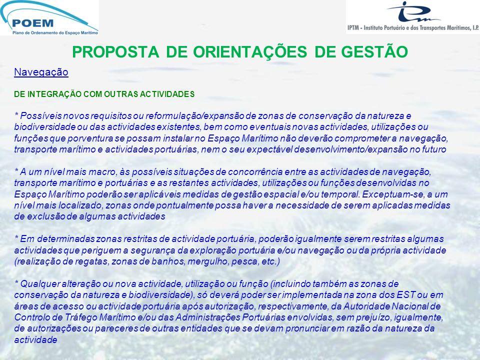 PROPOSTA DE ORIENTAÇÕES DE GESTÃO Navegação DE INTEGRAÇÃO COM OUTRAS ACTIVIDADES * Possíveis novos requisitos ou reformulação/expansão de zonas de con