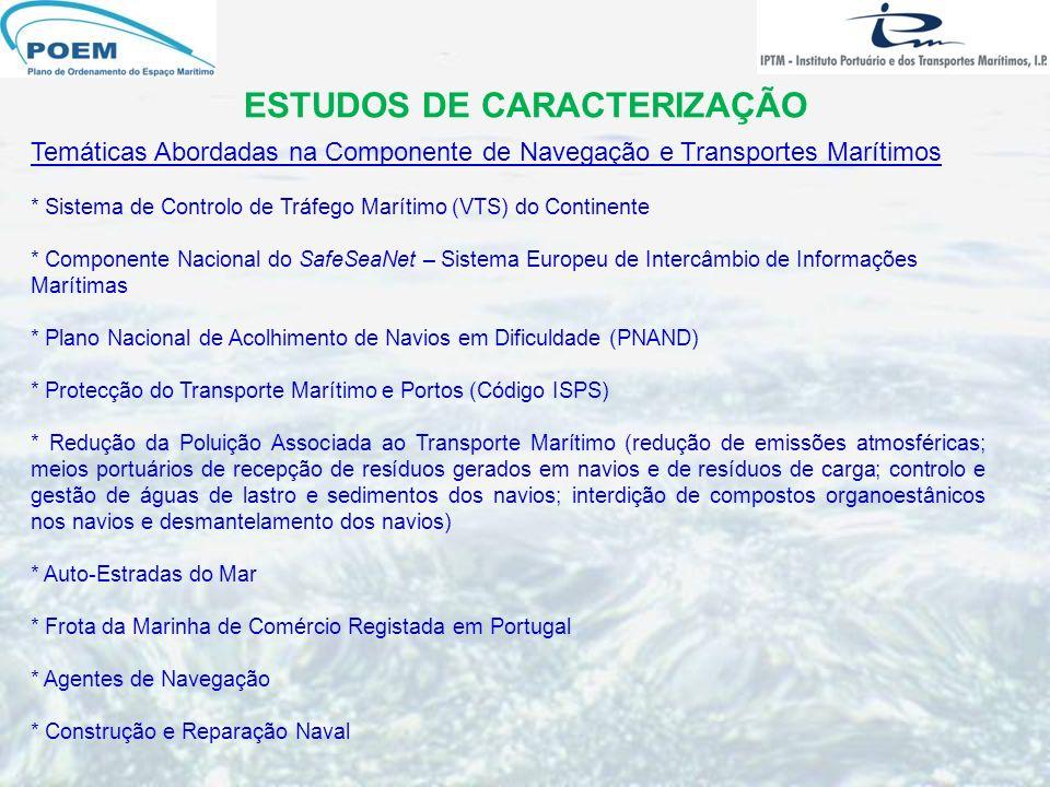ESTUDOS DE CARACTERIZAÇÃO Temáticas Abordadas na Componente de Navegação e Transportes Marítimos * Sistema de Controlo de Tráfego Marítimo (VTS) do Co