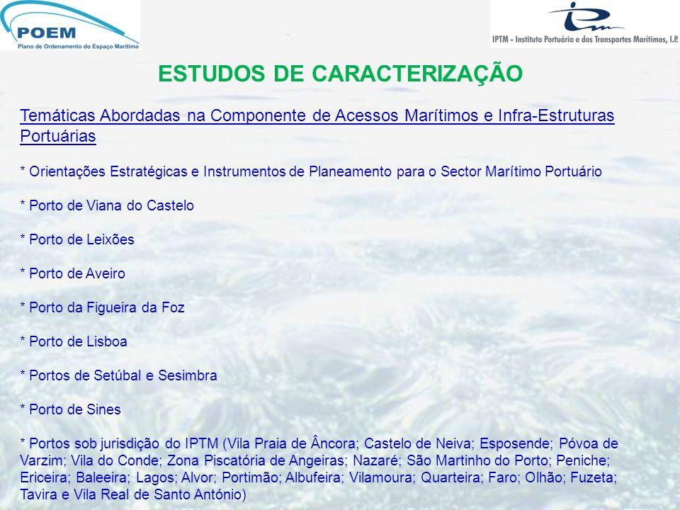 ESTUDOS DE CARACTERIZAÇÃO Temáticas Abordadas na Componente de Acessos Marítimos e Infra-Estruturas Portuárias * Orientações Estratégicas e Instrument
