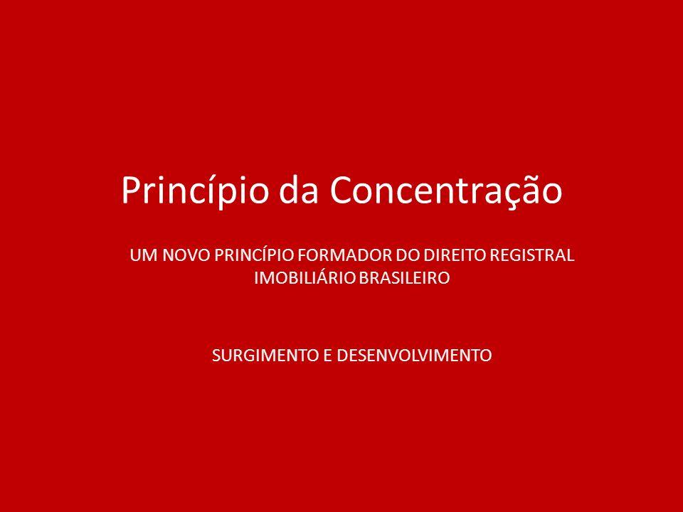 Princípio da Concentração UM NOVO PRINCÍPIO FORMADOR DO DIREITO REGISTRAL IMOBILIÁRIO BRASILEIRO SURGIMENTO E DESENVOLVIMENTO
