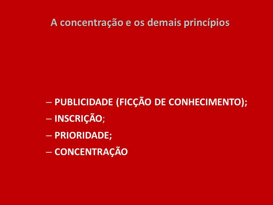 A concentração e os demais princípios A concentração e os demais princípios – PUBLICIDADE (FICÇÃO DE CONHECIMENTO); – INSCRIÇÃO; – PRIORIDADE; – CONCE