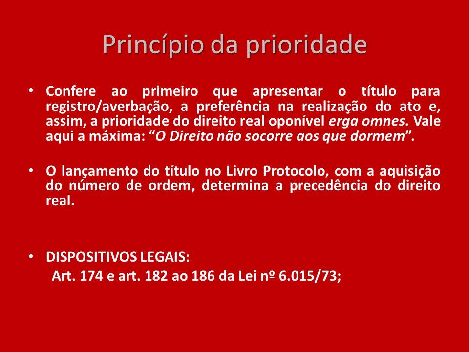 Princípio da prioridade Confere ao primeiro que apresentar o título para registro/averbação, a preferência na realização do ato e, assim, a prioridade