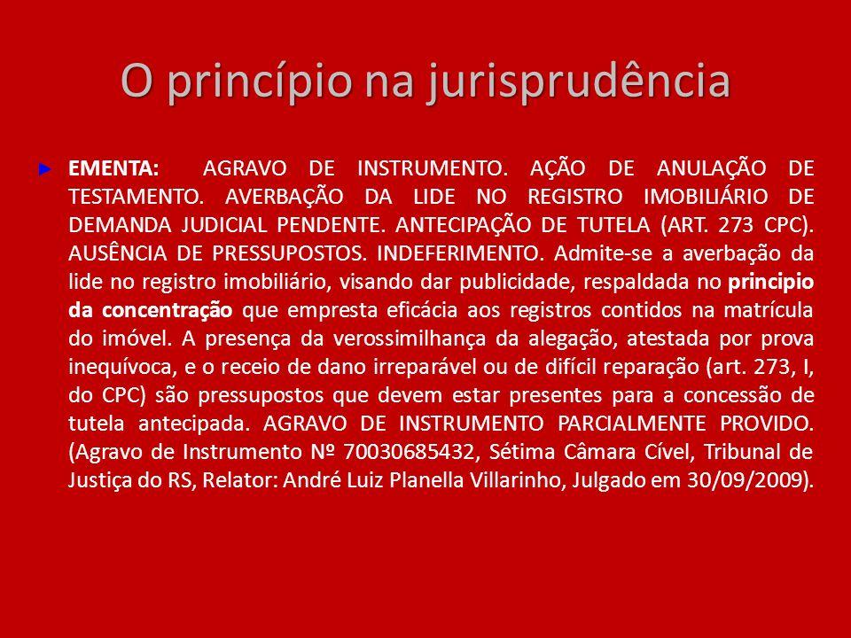 O princípio na jurisprudência EMENTA: AGRAVO DE INSTRUMENTO. AÇÃO DE ANULAÇÃO DE TESTAMENTO. AVERBAÇÃO DA LIDE NO REGISTRO IMOBILIÁRIO DE DEMANDA JUDI