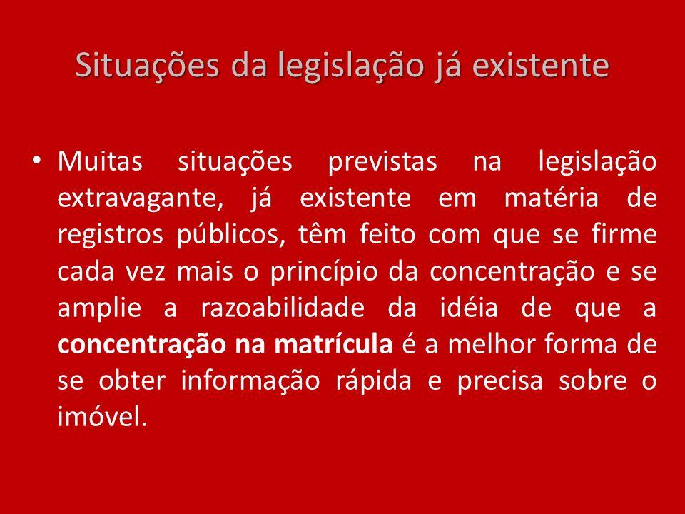 Situações da legislação já existente Muitas situações previstas na legislação extravagante, já existente em matéria de registros públicos, têm feito c