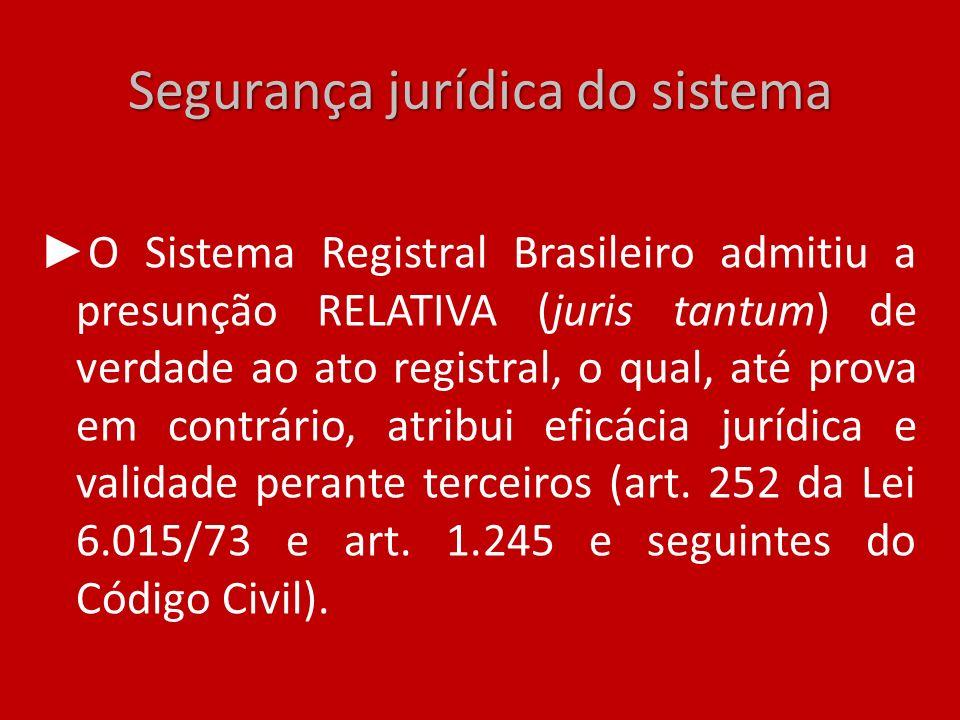 Segurança jurídica do sistema O Sistema Registral Brasileiro admitiu a presunção RELATIVA (juris tantum) de verdade ao ato registral, o qual, até prov