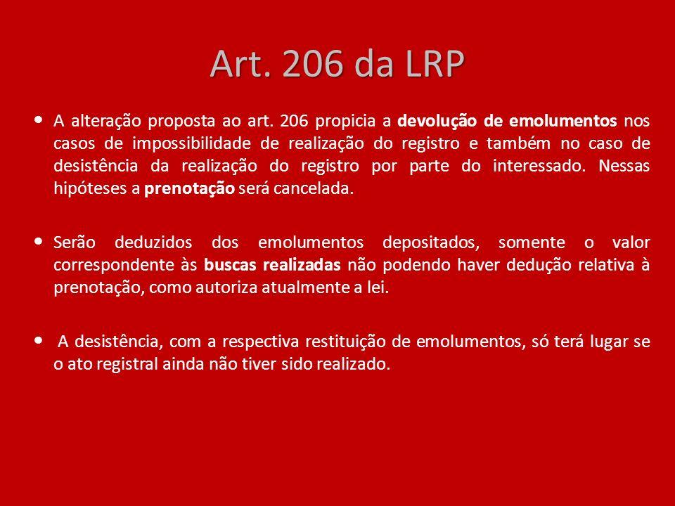 Art. 206 da LRP A alteração proposta ao art. 206 propicia a devolução de emolumentos nos casos de impossibilidade de realização do registro e também n