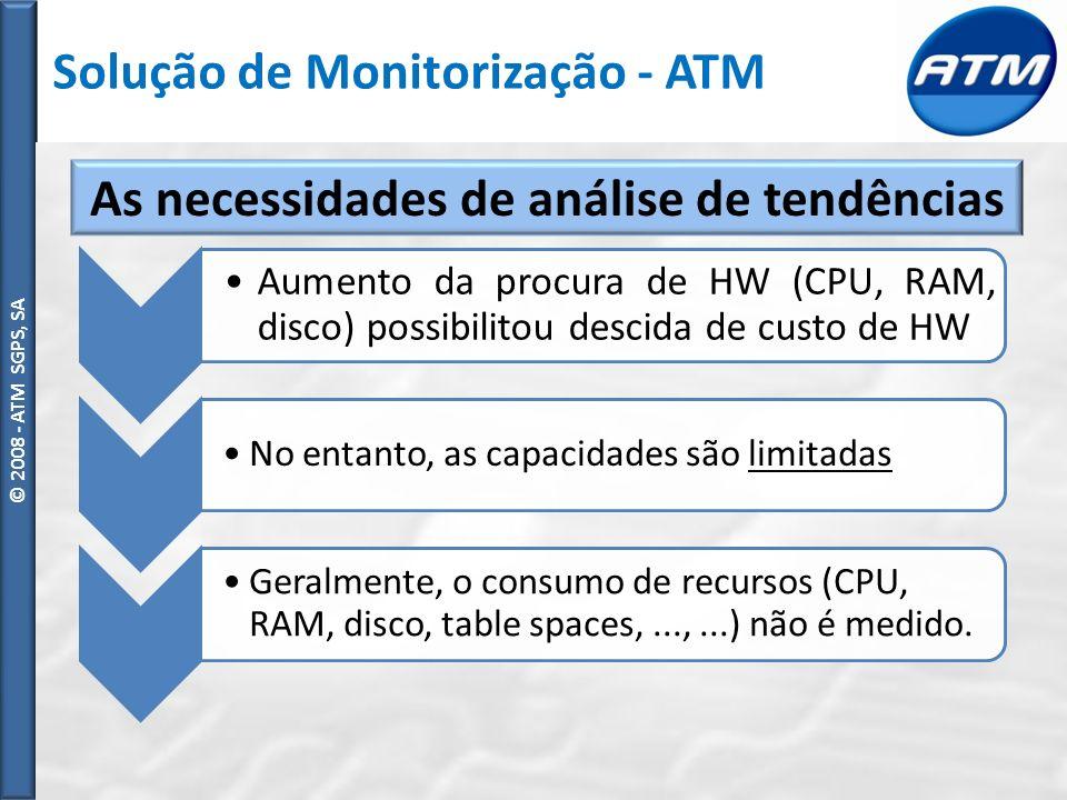 © ATM SGPS, SA © 2008 - ATM SGPS, SA Aumento da procura de HW (CPU, RAM, disco) possibilitou descida de custo de HW No entanto, as capacidades são limitadas Geralmente, o consumo de recursos (CPU, RAM, disco, table spaces,...,...) não é medido.