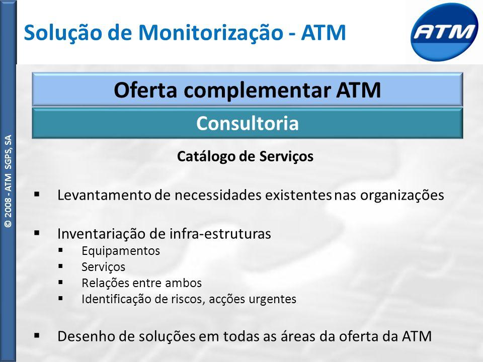© ATM SGPS, SA © 2008 - ATM SGPS, SA Oferta complementar ATM Catálogo de Serviços Levantamento de necessidades existentes nas organizações Inventariação de infra-estruturas Equipamentos Serviços Relações entre ambos Identificação de riscos, acções urgentes Desenho de soluções em todas as áreas da oferta da ATM Consultoria Solução de Monitorização - ATM