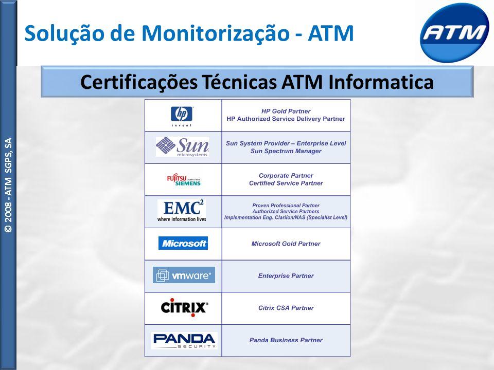 © ATM SGPS, SA Vantagens da Solução Monitorização Preventiva Alarmística (Email, SMS) Ideal para ambientes heterogéneos (diferentes sistemas operativos) Integração com dispositivos de rede (Switchs, routers, firewalls) Capacidade de adaptação às necessidades do cliente Baixo custo de implementação