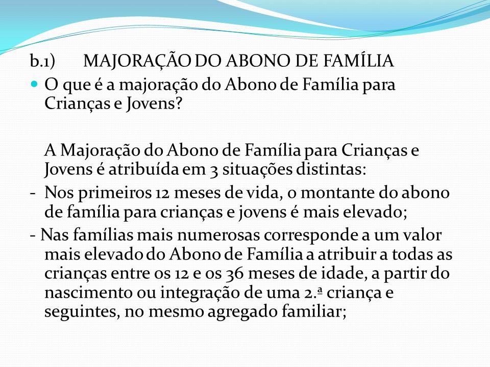 b.1) MAJORAÇÃO DO ABONO DE FAMÍLIA O que é a majoração do Abono de Família para Crianças e Jovens? A Majoração do Abono de Família para Crianças e Jov