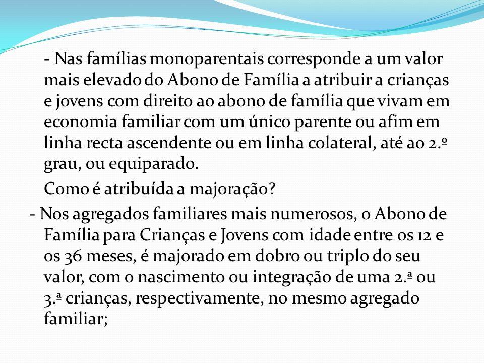 - Nas famílias monoparentais corresponde a um valor mais elevado do Abono de Família a atribuir a crianças e jovens com direito ao abono de família qu