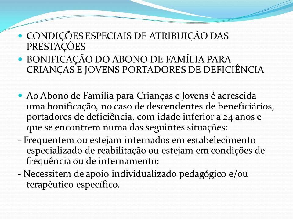 CONDIÇÕES ESPECIAIS DE ATRIBUIÇÃO DAS PRESTAÇÕES BONIFICAÇÃO DO ABONO DE FAMÍLIA PARA CRIANÇAS E JOVENS PORTADORES DE DEFICIÊNCIA Ao Abono de Familia