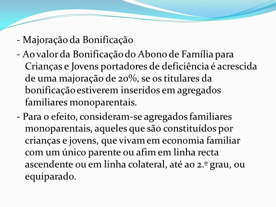 - Majoração da Bonificação - Ao valor da Bonificação do Abono de Família para Crianças e Jovens portadores de deficiência é acrescida de uma majoração