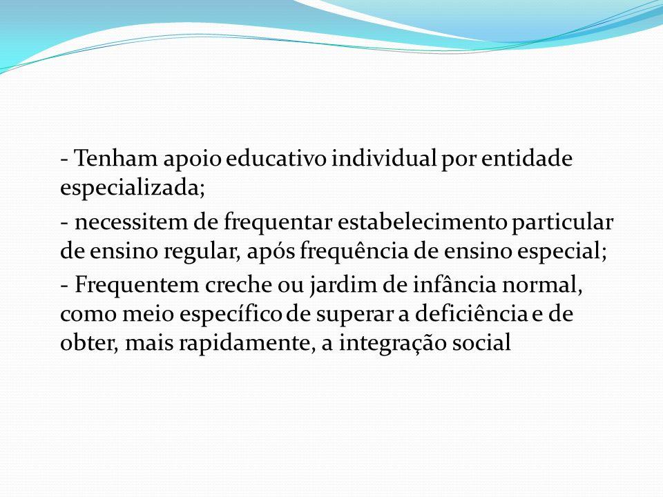 - Tenham apoio educativo individual por entidade especializada; - necessitem de frequentar estabelecimento particular de ensino regular, após frequênc