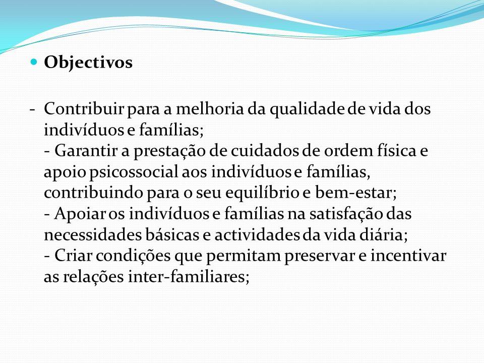 Objectivos -Contribuir para a melhoria da qualidade de vida dos indivíduos e famílias; - Garantir a prestação de cuidados de ordem física e apoio psic