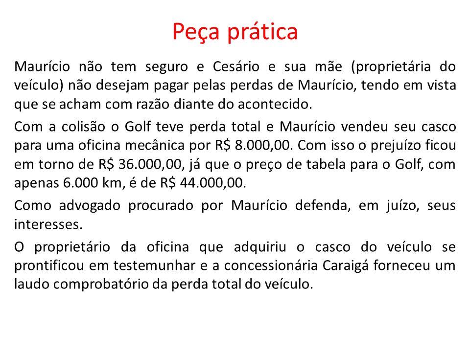Peça prática Maurício não tem seguro e Cesário e sua mãe (proprietária do veículo) não desejam pagar pelas perdas de Maurício, tendo em vista que se a
