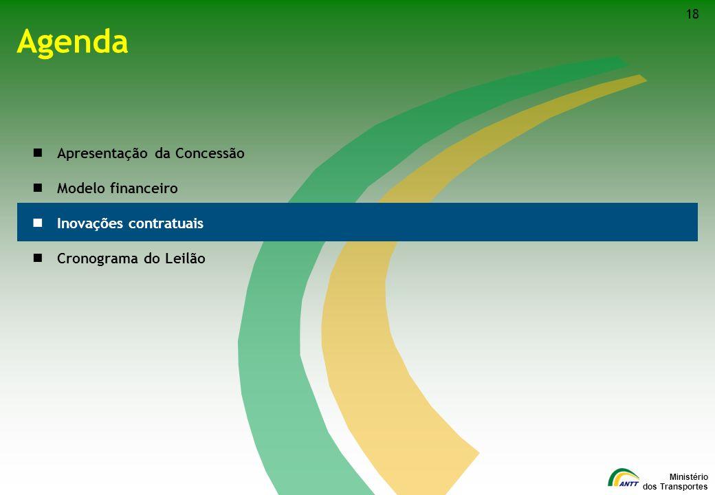 Ministério dos Transportes Agenda Apresentação da Concessão Modelo financeiro Inovações contratuais Cronograma do Leilão 18