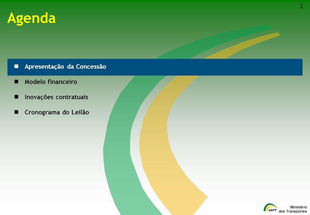 Ministério dos Transportes Agenda Apresentação da Concessão Modelo financeiro Inovações contratuais Cronograma do Leilão 2