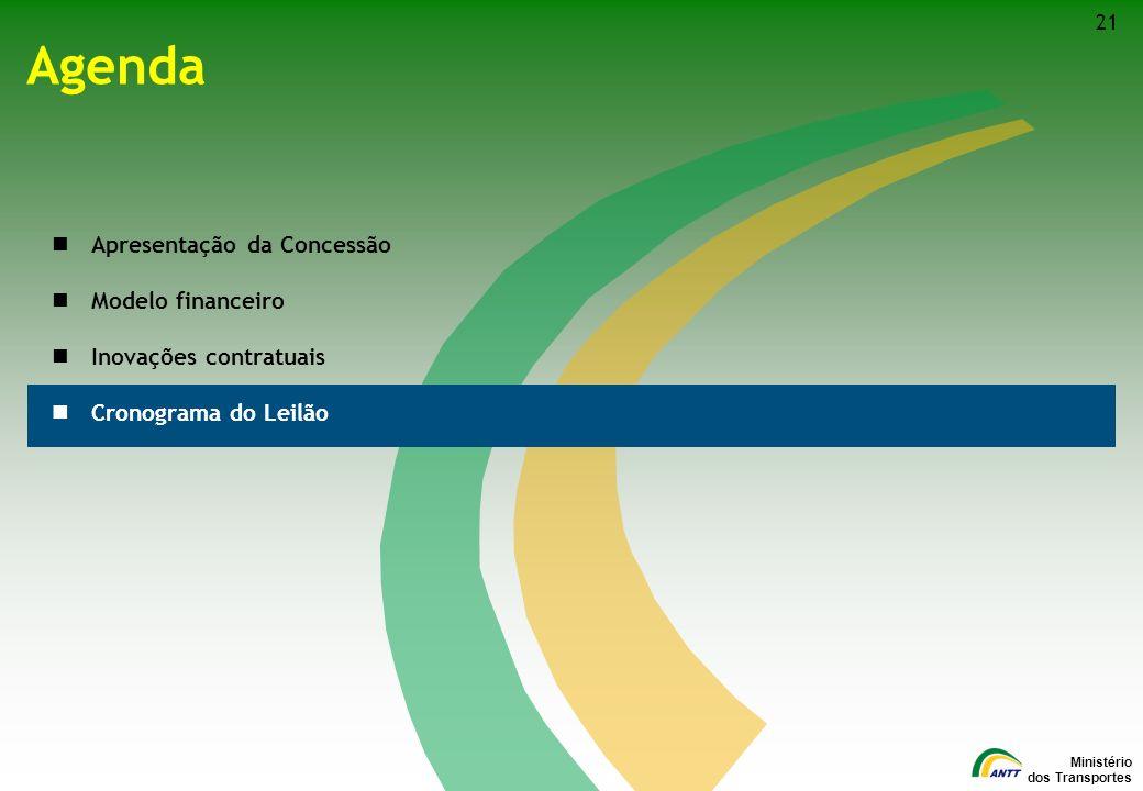 Ministério dos Transportes Agenda Apresentação da Concessão Modelo financeiro Inovações contratuais Cronograma do Leilão 21