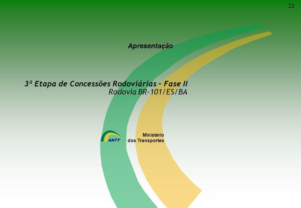 Ministério dos Transportes 3ª Etapa de Concessões Rodoviárias – Fase II Rodovia BR-101/ES/BA Ministério dos Transportes Apresentação 23
