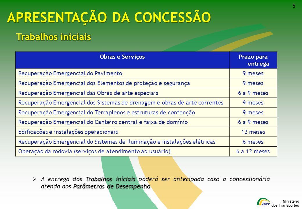 Ministério dos Transportes 5 APRESENTAÇÃO DA CONCESSÃO Obras e ServiçosPrazo para entrega Recuperação Emergencial do Pavimento9 meses Recuperação Emer