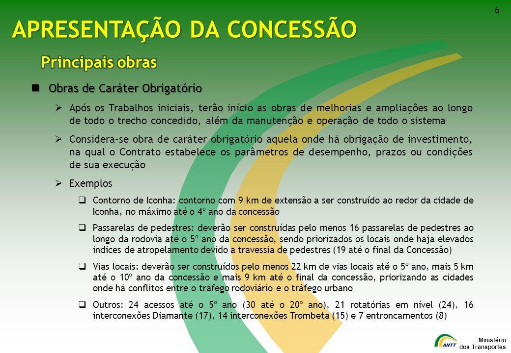 Ministério dos Transportes 17 MODELO FINANCEIRO PraçaMunicípio Localização (km) Tarifa Teto 1Pedro Canário2,0R$ 3,86 2São Mateus/Jaguaré86,7R$ 5,18 3Linhares/Aracruz168,1R$ 4,85 4Serra242,2R$ 4,69 5Vila Velha/Guarapari318,4R$ 4,82 6 Rio Novo do Sul/ Cachoeiro de Itapemirim 396,7R$ 4,07 7Mimoso do Sul449,0R$ 2,22 Localização e Tarifa