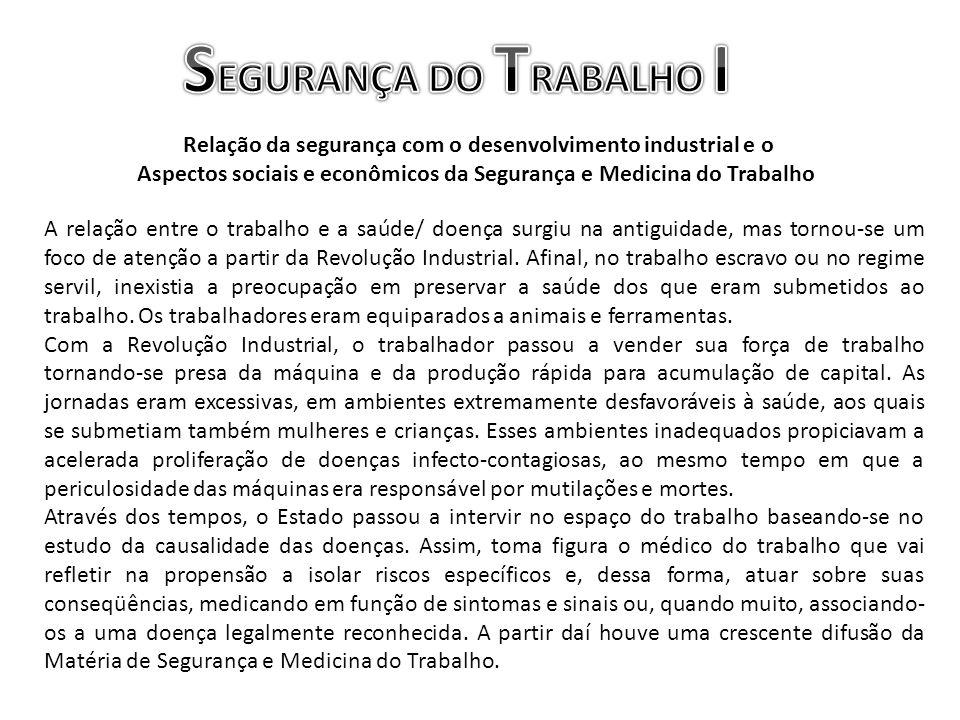 Relação da segurança com o desenvolvimento industrial e o Aspectos sociais e econômicos da Segurança e Medicina do Trabalho A relação entre o trabalho