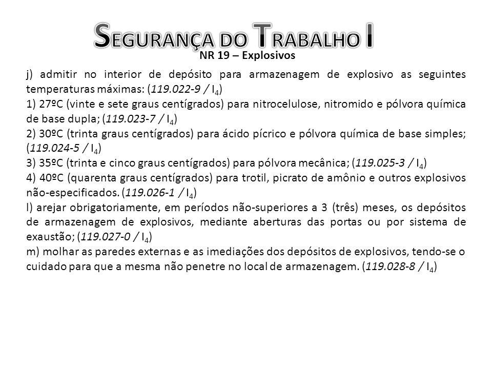 NR 19 – Explosivos j) admitir no interior de depósito para armazenagem de explosivo as seguintes temperaturas máximas: (119.022-9 / I 4 ) 1) 27ºC (vin