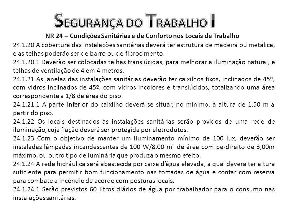 NR 24 – Condições Sanitárias e de Conforto nos Locais de Trabalho 24.1.20 A cobertura das instalações sanitárias deverá ter estrutura de madeira ou me