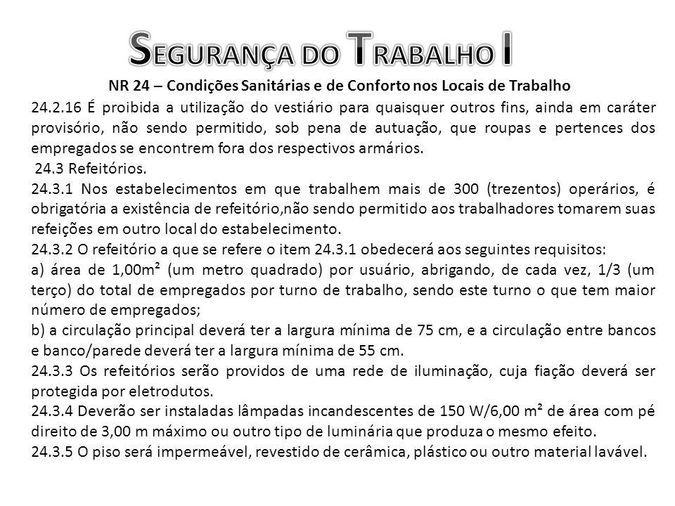 NR 24 – Condições Sanitárias e de Conforto nos Locais de Trabalho 24.2.16 É proibida a utilização do vestiário para quaisquer outros fins, ainda em ca