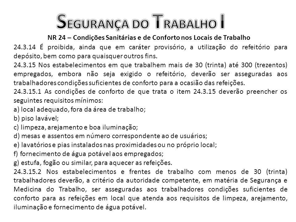 NR 24 – Condições Sanitárias e de Conforto nos Locais de Trabalho 24.3.14 É proibida, ainda que em caráter provisório, a utilização do refeitório para