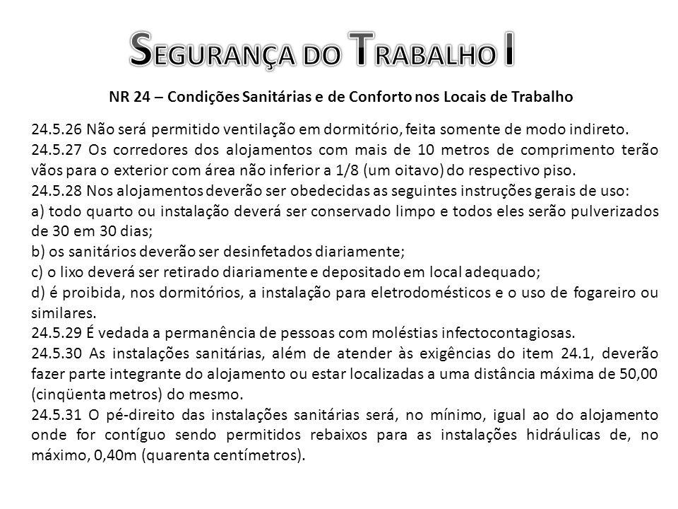 NR 24 – Condições Sanitárias e de Conforto nos Locais de Trabalho 24.5.26 Não será permitido ventilação em dormitório, feita somente de modo indireto.