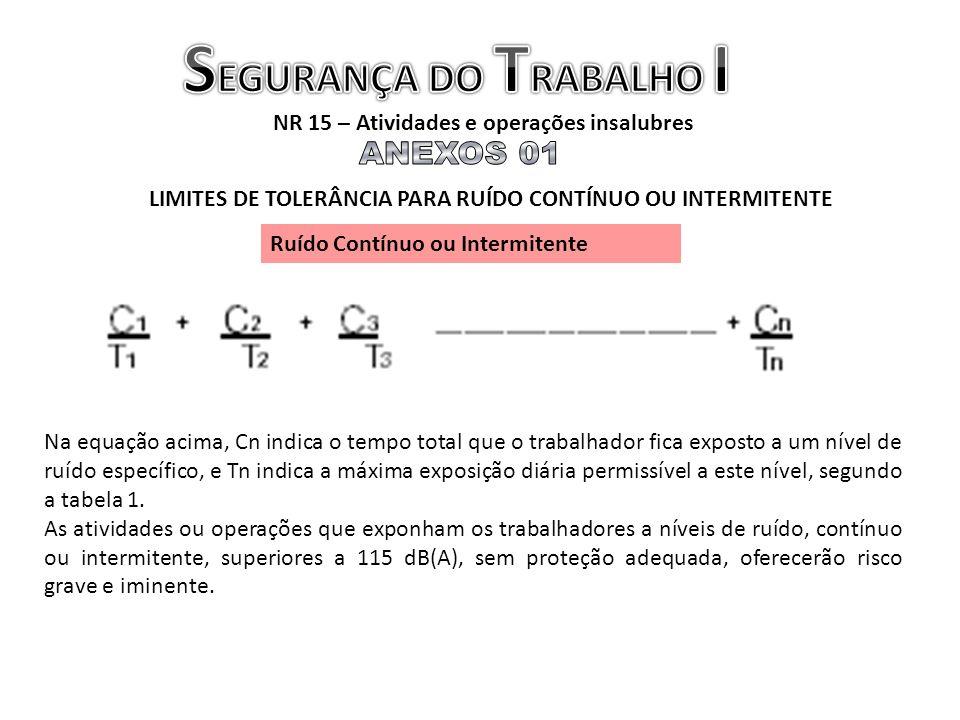 NR 15 – Atividades e operações insalubres LIMITES DE TOLERÂNCIA PARA RUÍDO CONTÍNUO OU INTERMITENTE Ruído Contínuo ou Intermitente Na equação acima, C