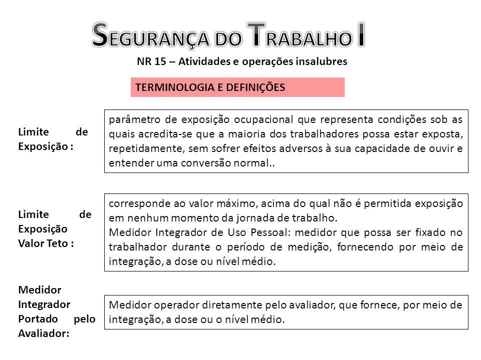 NR 15 – Atividades e operações insalubres TERMINOLOGIA E DEFINIÇÕES Limite de Exposição : parâmetro de exposição ocupacional que representa condições