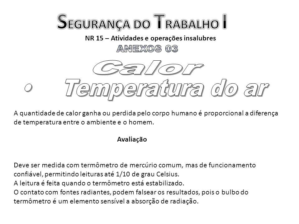 NR 15 – Atividades e operações insalubres Deve ser medida com termômetro de mercúrio comum, mas de funcionamento confiável, permitindo leituras até 1/