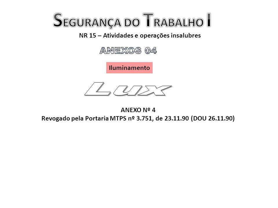 NR 15 – Atividades e operações insalubres Iluminamento ANEXO Nº 4 Revogado pela Portaria MTPS nº 3.751, de 23.11.90 (DOU 26.11.90)