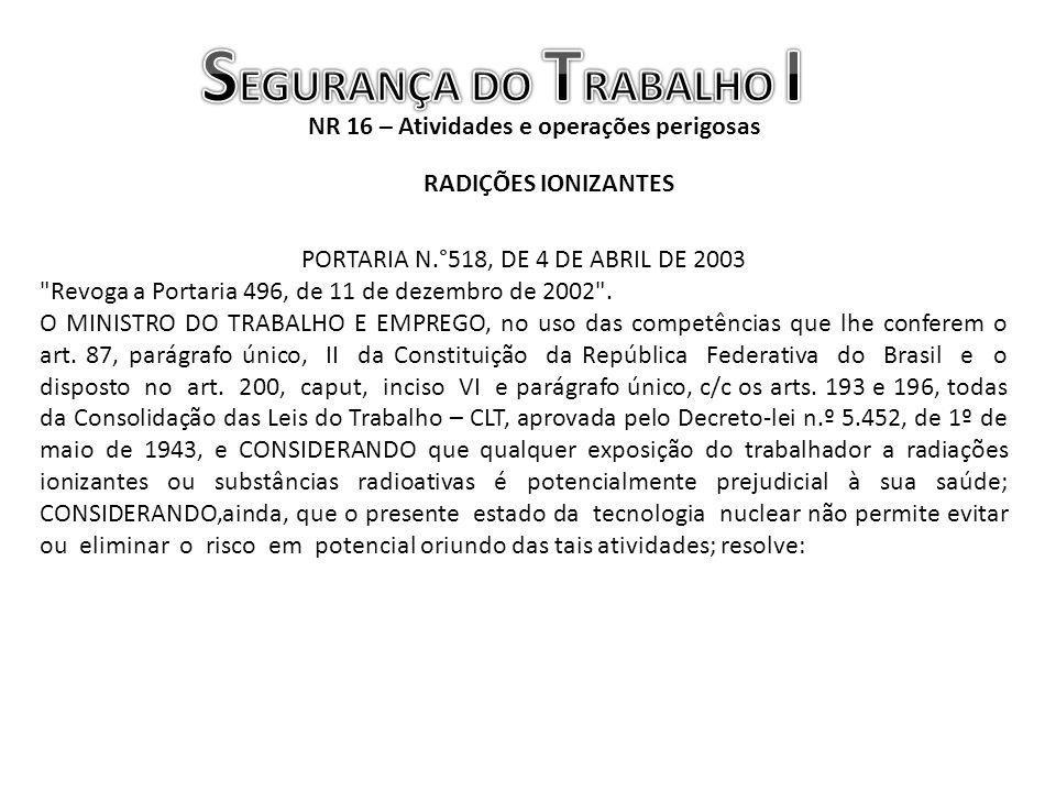 NR 16 – Atividades e operações perigosas RADIÇÕES IONIZANTES PORTARIA N.°518, DE 4 DE ABRIL DE 2003