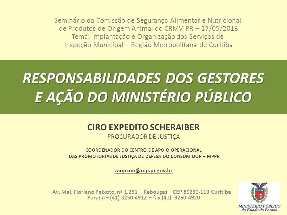 RESPONSABILIDADES DOS GESTORES E AÇÃO DO MINISTÉRIO PÚBLICO CIRO EXPEDITO SCHERAIBER PROCURADOR DE JUSTIÇA COORDENADOR DO CENTRO DE APOIO OPERACIONAL